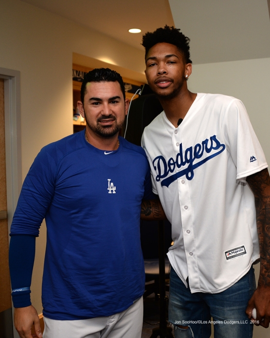 Los Angeles Laker Brandon Ingram and Adrian Gonzalez pose prior to game against the San Francisco Giants Wednesday, September 21, 2016 at Dodger Stadium. Photo by Jon SooHoo/©Los Angeles Dodgers,LLC 2016
