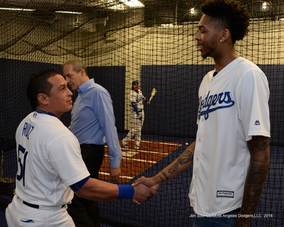Los Angeles Laker Brandon Ingram and Carlos Ruiz meet prior to game against the San Francisco Giants Wednesday, September 21, 2016 at Dodger Stadium. Photo by Jon SooHoo/©Los Angeles Dodgers,LLC 2016