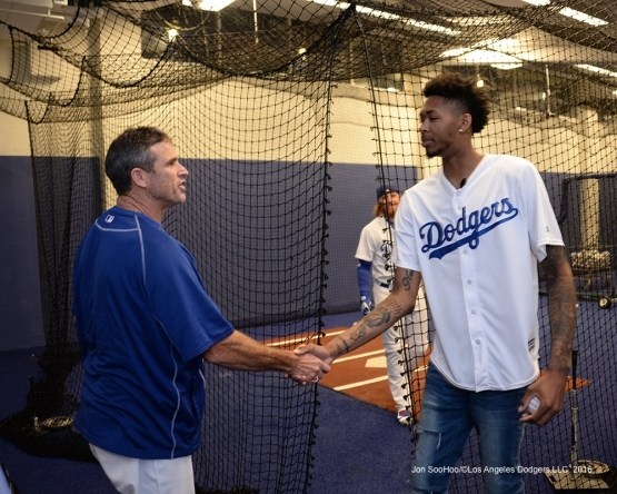 Los Angeles Laker Brandon Ingram and Turner Ward meet prior to game against the San Francisco Giants Wednesday, September 21, 2016 at Dodger Stadium. Photo by Jon SooHoo/©Los Angeles Dodgers,LLC 2016