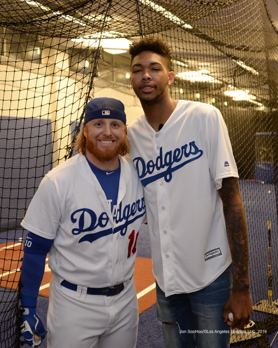 Los Angeles Laker Brandon Ingram and Justin Turner pose prior to game against the San Francisco Giants Wednesday, September 21, 2016 at Dodger Stadium. Photo by Jon SooHoo/©Los Angeles Dodgers,LLC 2016