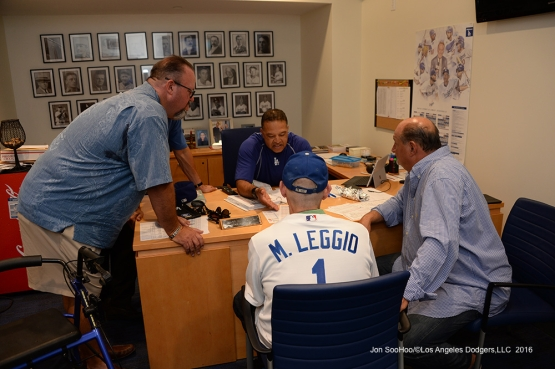 Great Los Angeles Dodger fans in the with Dave Roberts prior to game against the San Francisco Giants Wednesday, September 21, 2016 at Dodger Stadium. Photo by Jon SooHoo/©Los Angeles Dodgers,LLC 2016