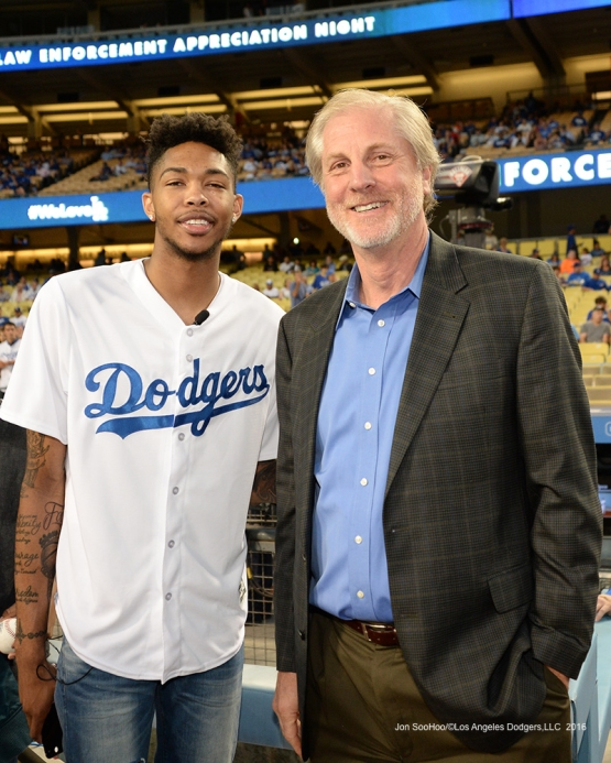 Los Angeles Laker Brandon Ingram and Bob Wolfe pose prior to game against the San Francisco Giants Wednesday, September 21, 2016 at Dodger Stadium. Photo by Jon SooHoo/©Los Angeles Dodgers,LLC 2016