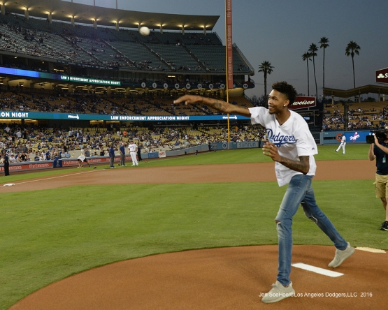 Los Angeles Laker Brandon Ingram throws out the first pitch prior to game against the San Francisco Giants Wednesday, September 21, 2016 at Dodger Stadium. Photo by Jon SooHoo/©Los Angeles Dodgers,LLC 2016