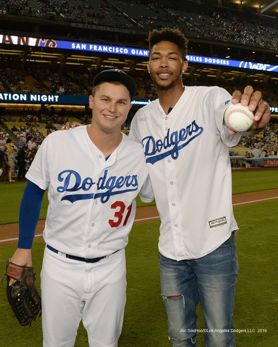 Los Angeles Laker Brandon Ingram and Joc Pederson pose prior to game against the San Francisco Giants Wednesday, September 21, 2016 at Dodger Stadium. Photo by Jon SooHoo/©Los Angeles Dodgers,LLC 2016