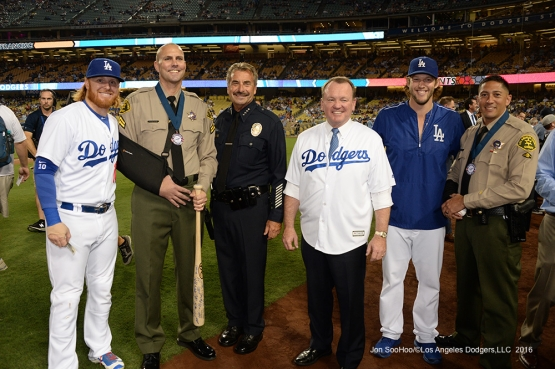 Los Angeles Dodgers pose for Law Enforcement  Appreciation Night prior to game against the San Francisco Giants Wednesday, September 21, 2016 at Dodger Stadium. Photo by Jon SooHoo/©Los Angeles Dodgers,LLC 2016