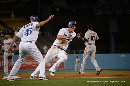 Corey Seager scores during game against the San Francisco Giants Wednesday, September 21, 2016 at Dodger Stadium. Photo by Jon SooHoo/©Los Angeles Dodgers,LLC 2016
