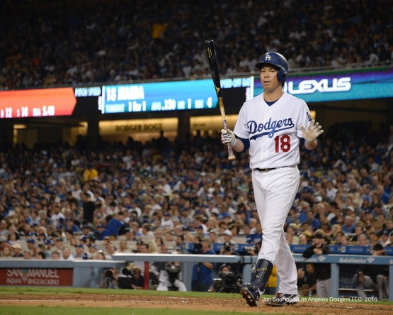 Kenta Maeda calls time out during game against the San Francisco Giants Wednesday, September 21, 2016 at Dodger Stadium. Photo by Jon SooHoo/©Los Angeles Dodgers,LLC 2016