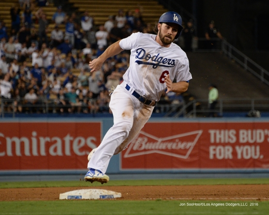 Charlie Culberson scores during game against the San Francisco Giants Wednesday, September 21, 2016 at Dodger Stadium. Photo by Jon SooHoo/©Los Angeles Dodgers,LLC 2016