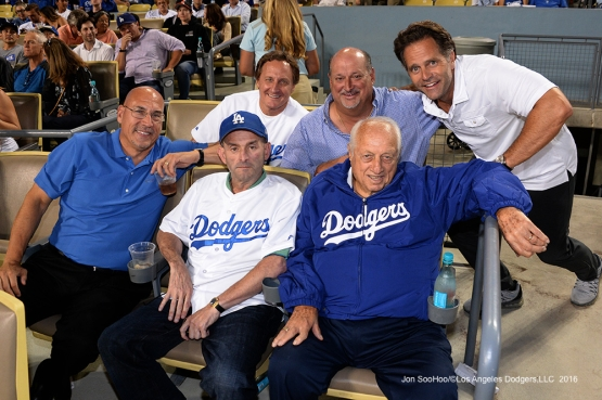 Tommy Lasorda and friends during game against the San Francisco Giants Wednesday, September 21, 2016 at Dodger Stadium. Photo by Jon SooHoo/©Los Angeles Dodgers,LLC 2016