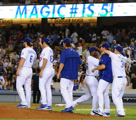 The Dodgers reduce their magic number to five.