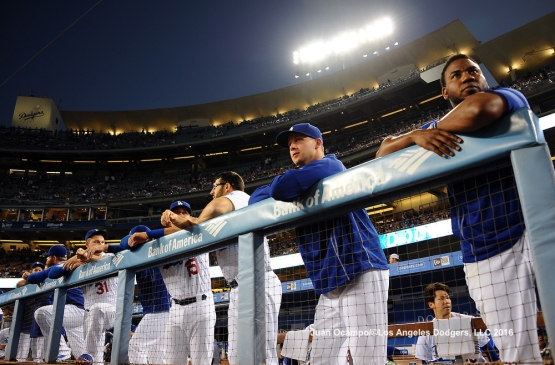 The Los Angeles Dodgers get ready for the game against the San Francisco Giants at Dodger Stadium.