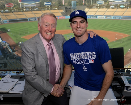 Vin Scully with Ross Stripling Thursday, September 22, 2016 at Dodger Stadium. Photo by Jon SooHoo/©Los Angeles Dodgers,LLC 2016