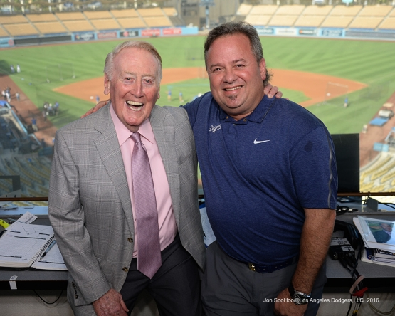 Vin Scully with Mitch Poole Thursday, September 22, 2016 at Dodger Stadium. Photo by Jon SooHoo/©Los Angeles Dodgers,LLC 2016