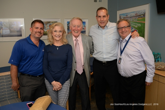 Vin Scully with the bosses Thursday, September 22, 2016 at Dodger Stadium. Photo by Jon SooHoo/©Los Angeles Dodgers,LLC 2016