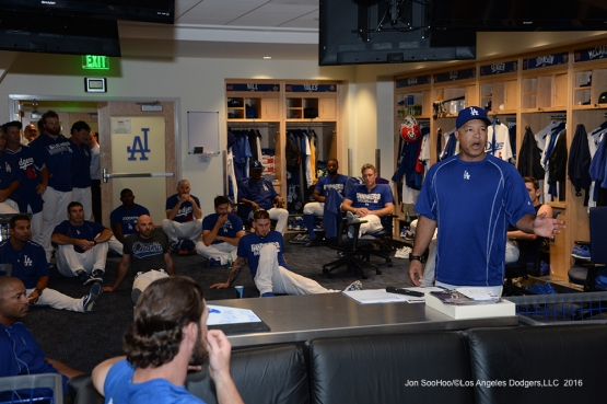Dave Roberts holds team meeting to announce Chase Utley as the winner of the 2016 Roy Campanella Award prior to game against the Colorado Rockies Thursday, September 22, 2016 at Dodger Stadium. Photo by Jon SooHoo/©Los Angeles Dodgers,LLC 2016