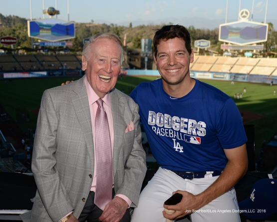 Vin Scully with Rich Hill Thursday, September 22, 2016 at Dodger Stadium. Photo by Jon SooHoo/©Los Angeles Dodgers,LLC 2016