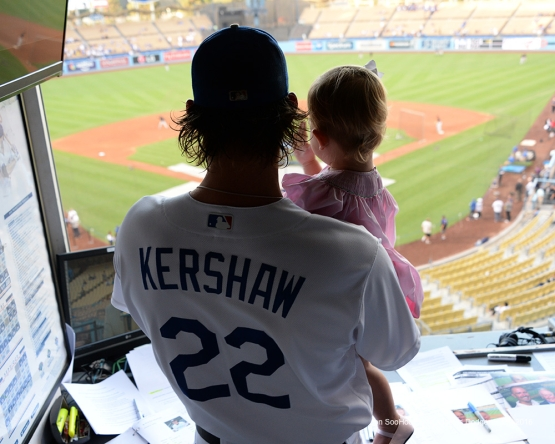 Clayton Kershaw and Cali Ann Kershaw Thursday, September 22, 2016 at Dodger Stadium. Photo by Jon SooHoo/©Los Angeles Dodgers,LLC 2016