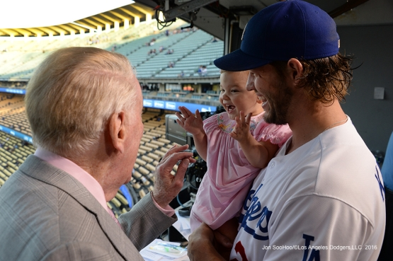 Vin Scully with Cali Ann Kershaw Thursday, September 22, 2016 at Dodger Stadium. Photo by Jon SooHoo/©Los Angeles Dodgers,LLC 2016