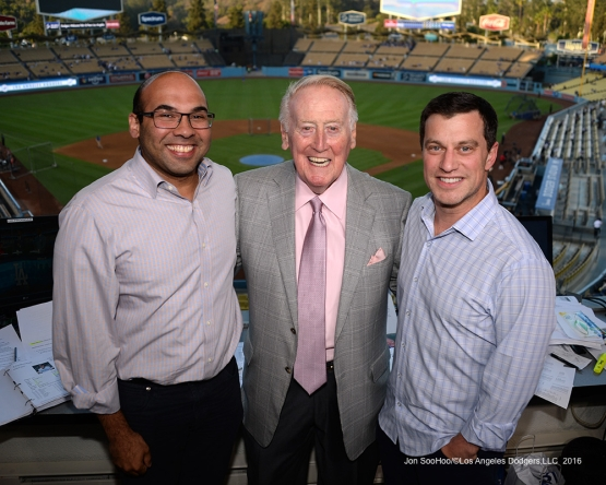 Vin Scully with Farhan Zaidi and Andrew Friedman Thursday, September 22, 2016 at Dodger Stadium. Photo by Jon SooHoo/©Los Angeles Dodgers,LLC 2016