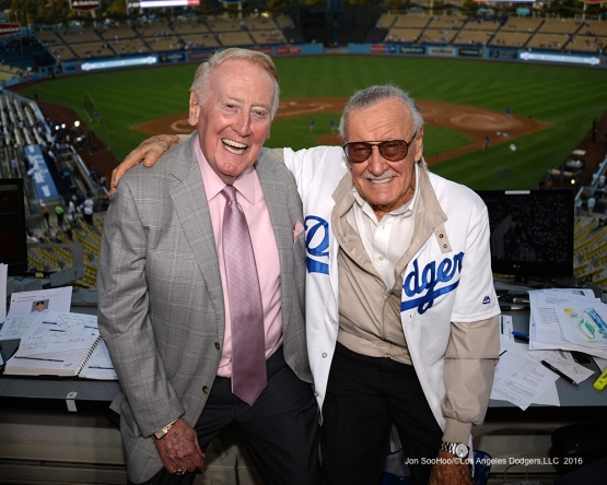 Vin Scully with Stan Lee Thursday, September 22, 2016 at Dodger Stadium. Photo by Jon SooHoo/©Los Angeles Dodgers,LLC 2016