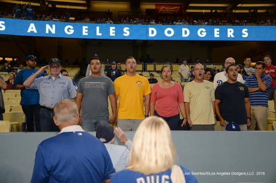 Los Angeles Dodgers Military Hero of the Game, US Navy Petty Officer First Class, Ernest Thompson is sung to by current Navy members in attendance prior to game against the Colorado Rockies Thursday, September 22, 2016 at Dodger Stadium. Photo by Jon SooHoo/©Los Angeles Dodgers,LLC 2016