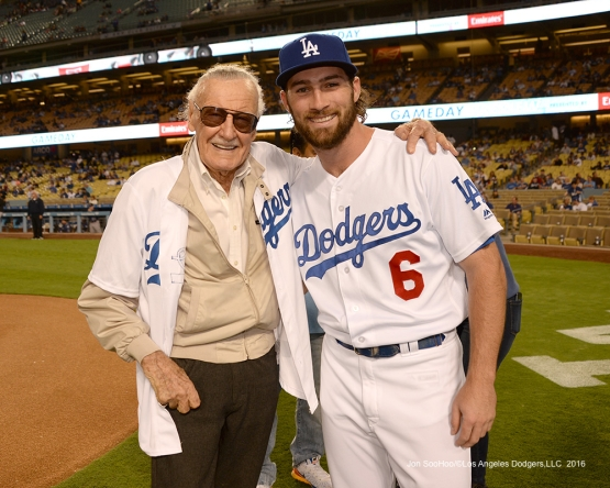 Stan Lee with Charlie Culberson pose prior to game against the Colorado Rockies Thursday, September 22, 2016 at Dodger Stadium. Photo by Jon SooHoo/©Los Angeles Dodgers,LLC 2016