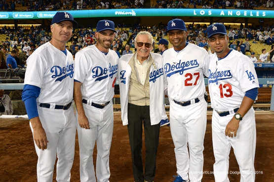 Los Angeles Dodgers coaches pose with Stan Lee prior to game against the Colorado Rockies Thursday, September 22, 2016 at Dodger Stadium. Photo by Jon SooHoo/©Los Angeles Dodgers,LLC 2016