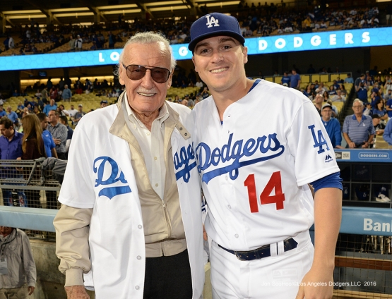 Stan Lee and Kike Hernandez pose prior to game against the Colorado Rockies Thursday, September 22, 2016 at Dodger Stadium. Photo by Jon SooHoo/©Los Angeles Dodgers,LLC 2016