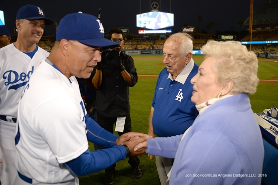 Los Angeles Dodgers celebrate the birthday of Tommy Lasorda prior to game against the Colorado Rockies Thursday, September 22, 2016 at Dodger Stadium. Photo by Jon SooHoo/©Los Angeles Dodgers,LLC 2016