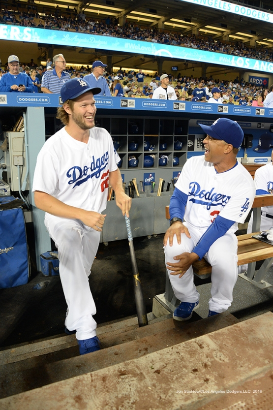 Clayton Kershaw with Dave Roberts prior to game against the Colorado Rockies Thursday, September 22, 2016 at Dodger Stadium. Photo by Jon SooHoo/©Los Angeles Dodgers,LLC 2016