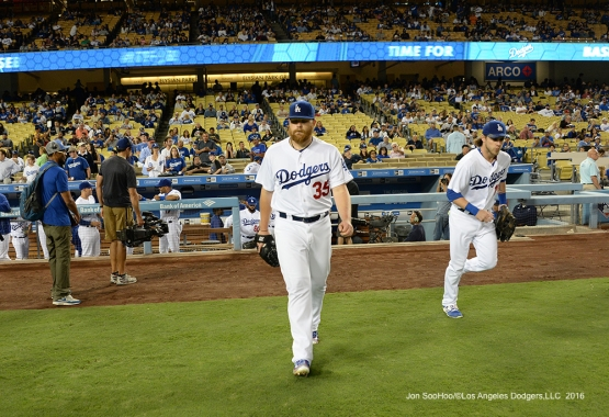 Brett Anderson takes the field to start  game against the Colorado Rockies Thursday, September 22, 2016 at Dodger Stadium. Photo by Jon SooHoo/©Los Angeles Dodgers,LLC 2016