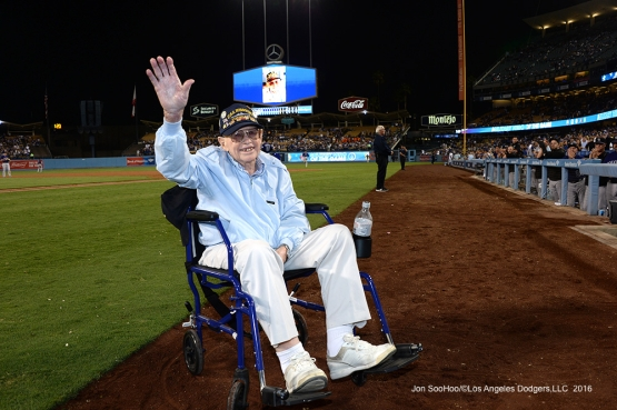 Los Angeles Dodgers Military Hero of the Game, US Navy Petty Officer First Class, Ernest Thompson waves to the crowd during game against the Colorado Rockies Thursday, September 22, 2016 at Dodger Stadium. Photo by Jon SooHoo/©Los Angeles Dodgers,LLC 2016