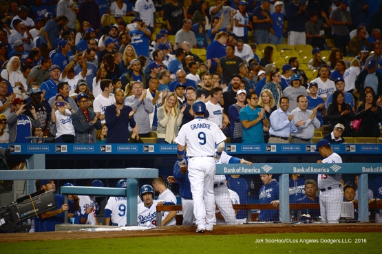 Yasmani Grandal with a solo home run  against the Colorado Rockies Thursday, September 22, 2016 at Dodger Stadium. Photo by Jon SooHoo/©Los Angeles Dodgers,LLC 2016