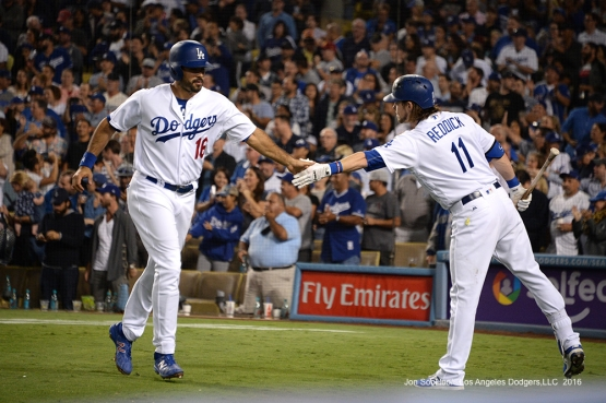 Andre Ethier scores during game against the Colorado Rockies Thursday, September 22, 2016 at Dodger Stadium. Photo by Jon SooHoo/©Los Angeles Dodgers,LLC 2016
