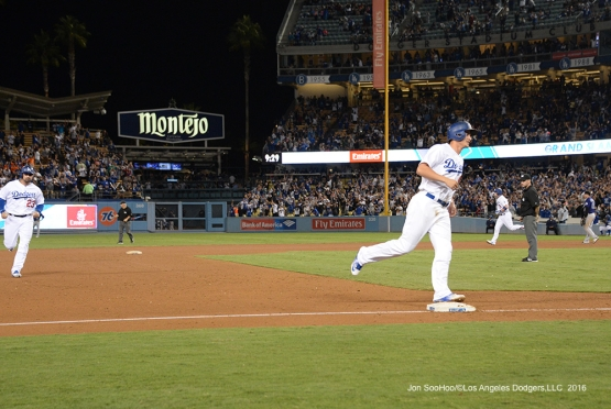 Yasmani Grandal hits a grand slam against the Colorado Rockies Thursday, September 22, 2016 at Dodger Stadium. Photo by Jon SooHoo/©Los Angeles Dodgers,LLC 2016