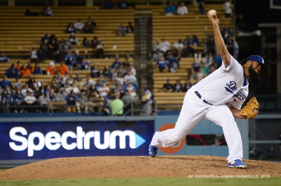 Kenley Jansen finishes the ninth against the Colorado Rockies Thursday, September 22, 2016 at Dodger Stadium. Photo by Jon SooHoo/©Los Angeles Dodgers,LLC 2016