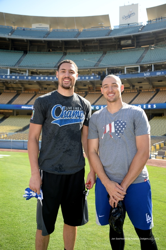 Klay and Trayce Thompson pose prior to Los Angeles Dodgers game vs the Colorado Rockies Friday, September 23, 2016 at Dodger Stadium. Photo by Jon SooHoo/©Los Angeles Dodgers,LLC 2016