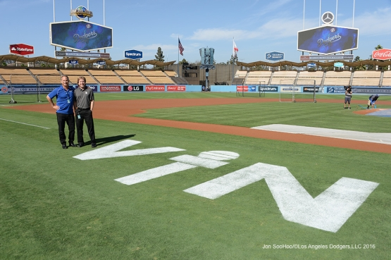 Public address announcer Todd Leitz and Organist Dieter Ruehle pose with Vin logo prior to Los Angeles Dodgers game vs the Colorado Rockies Friday, September 23, 2016 at Dodger Stadium. Photo by Jon SooHoo/©Los Angeles Dodgers,LLC 2016