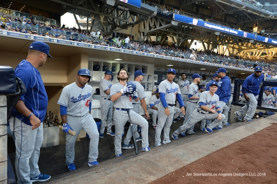 Los Angeles Dodgers in the dugout ready to start the game Thursday, September 29, 2016 at Petco Park. Photo by Jon SooHoo/©Los Angeles Dodgers,LLC 2016