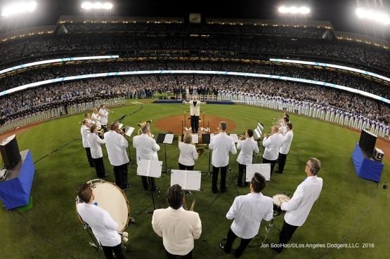 John Williams and the LA Philharmonic lead the national anthem during the Vin Scully Ceremony Friday, September 23, 2016 at Dodger Stadium. Photo by Jon SooHoo/©Los Angeles Dodgers,LLC 2016