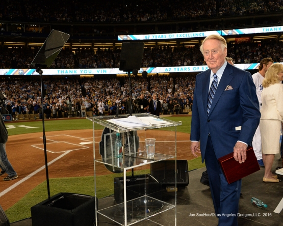 Vin Scully Ceremony prior to Los Angeles Dodgers game against the Colorado Rockies Friday, September 23, 2016 at Dodger Stadium. Photo by Jon SooHoo/©Los Angeles Dodgers,LLC 2016