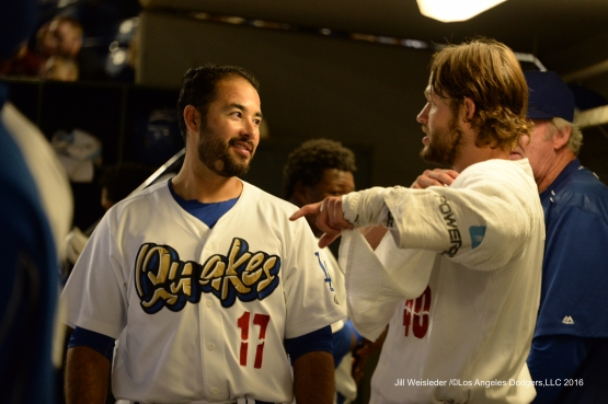 Los Angeles Dodgers Clayton Kershaw, Andre Ethier and Brett Anderson participate Saturday, September 3,2016 at Rancho Cucamonga Quakes game. Photo Credit: Jill Weisleder/©Los Angeles Dodgers,LLC 2016