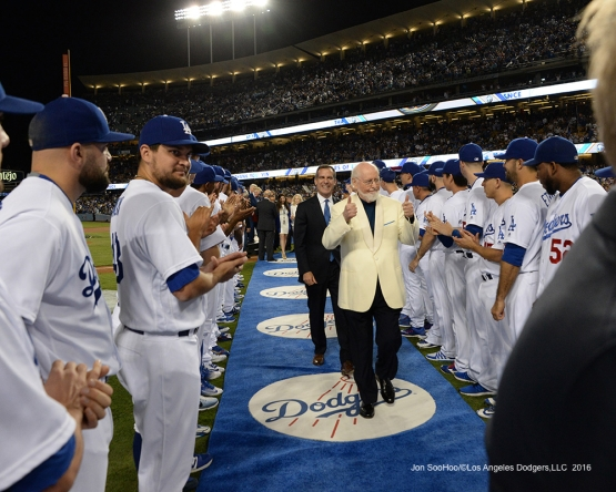 Composer John Williams and Mayor Garcetti take the walk through the team during the Vin Scully Ceremony Friday, September 23, 2016 at Dodger Stadium. Photo by Jon SooHoo/©Los Angeles Dodgers,LLC 2016