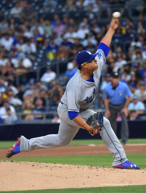 Julio Urias pitches to the San Diego Padres Thursday, September 29, 2016 at Petco Park. Photo by Jon SooHoo/©Los Angeles Dodgers,LLC 2016