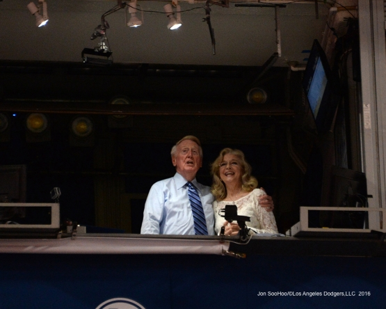 Vin and Sandy Scully sing to the crowd during the seventh of Los Angeles Dodgers game against the Colorado Rockies Friday, September 23, 2016 at Dodger Stadium. Photo by Jon SooHoo/©Los Angeles Dodgers,LLC 2016