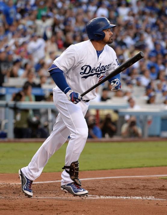 Andrian Gonzalez watches his ball take flight for a home run. Jill Weisleder/Dodgers