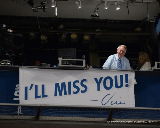 Vin Scully salutes the fans during the seventh of Los Angeles Dodgers game against the Colorado Rockies Friday, September 23, 2016 at Dodger Stadium. Photo by Jon SooHoo/©Los Angeles Dodgers,LLC 2016