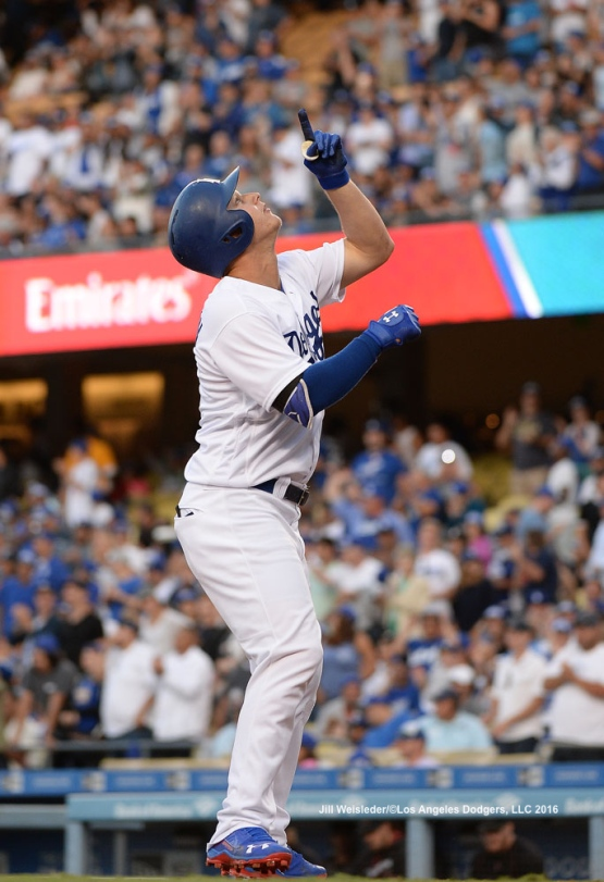 Joc Pederson points to the sky after coming in to score. Jill Weisleder/Dodgers