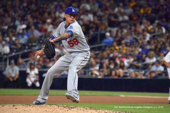 Jesse Chavez pitches to the San Diego Padres Thursday, September 29, 2016 at Petco Park. Photo by Jon SooHoo/©Los Angeles Dodgers,LLC 2016