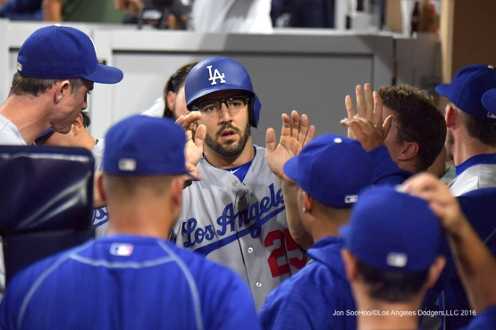Rob Segedin scores Thursday, September 29, 2016 at Petco Park. Photo by Jon SooHoo/©Los Angeles Dodgers,LLC 2016
